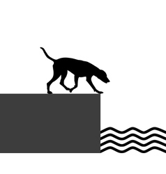 Dog at the shore vector