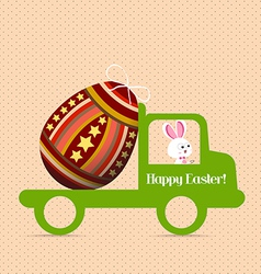 Easter egg bunny carrying a egg on the car vector