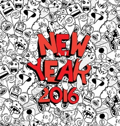 New year 2016 doodle hipster background vector