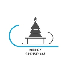 Christmas tree on a sled vector