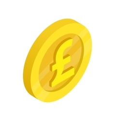 Gold coin with pound sign icon isometric 3d style vector