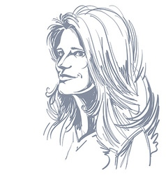 Hand-drawn portrait of white-skin dreamy woman vector