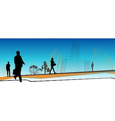 Business people skyline vector