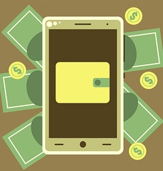 Mobile wallet with money bills and coins vector