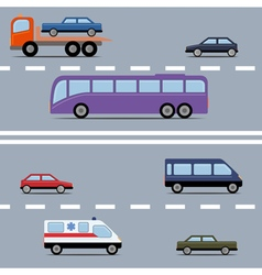 Set of colorful transport Different kinds of vector image
