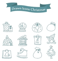 Art of merry christmas icons vector
