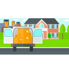 Background of delivery truck with an open door and vector