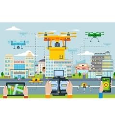 Big city modern technologies concept vector