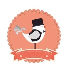 Birds romantic card icon vector