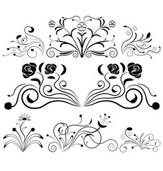 Black and white floral design elements vector image vector image