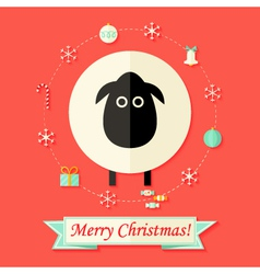 Christmas Card with Sheep over Red vector image