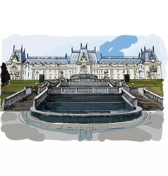 Digital painted palace of culture in iasi vector
