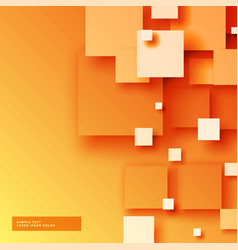 Elegant bright orange background with 3d sqaures vector