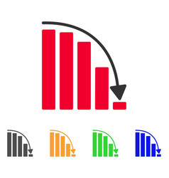 Falling acceleration chart icon vector
