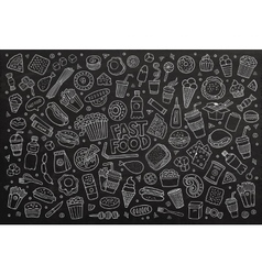 Fast food doodles hand drawn chalk board vector