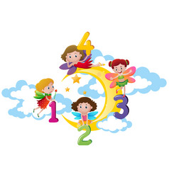 Four fairies counting numbers on the moon vector
