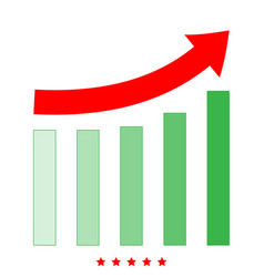 Growing graph icon flat style vector