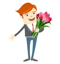 Hipster funny man holding flowers flat style vector