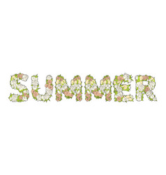 Inscription summer from flowers vector