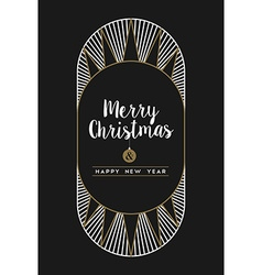 Merry christmas happy new year art deco frame card vector