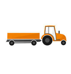 orange tractor with a trailer agricultural vector image