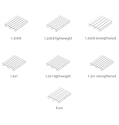 Pallets of various sizes in the linear design vector