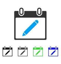 Pencil calendar page flat icon vector