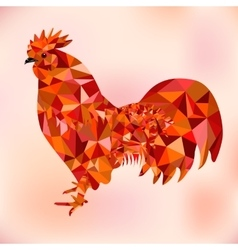 Red polygon bantam - symbol of chinese new year vector