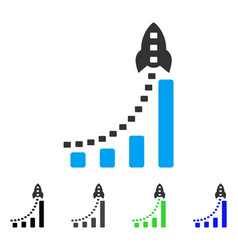 Rocket business bar chart flat icon vector