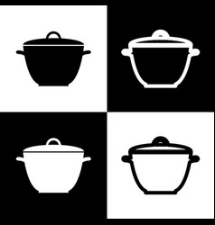 Saucepan simple sign black and white vector