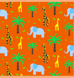 Savannah animals child cute seamless pattern vector