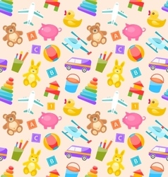 Seamless Pattern with Colorful Children Toys vector image