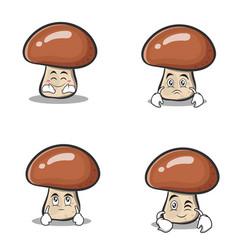 Set collection mushroom character cartoon vector