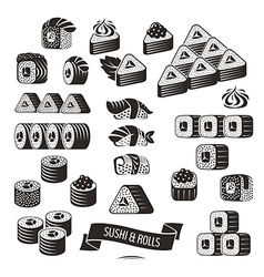 Set of black and white sushi icons vector