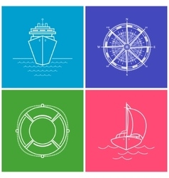 Set of Color Maritime Icons vector image vector image
