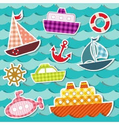 Set of sea transport stickers vector image vector image