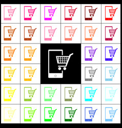 Shopping on smart phone sign felt-pen 33 vector