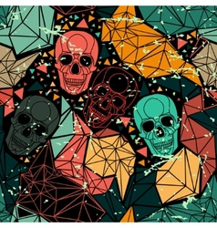 Skull with floral geometric ornament vector
