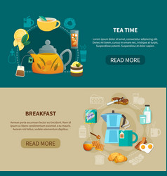 tea time and breakfast banners vector image vector image