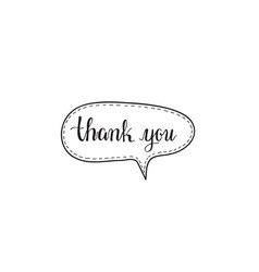 thank you hand written words calligraphy in a vector image