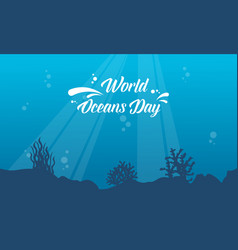underwater background for world ocean day style vector image