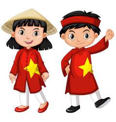 Vietnamese boy and girl in red costume vector