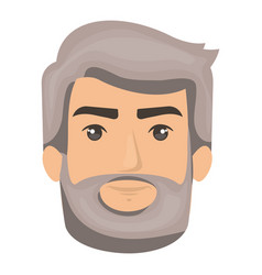 White background of man face with hair and beard vector