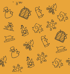 wild west concept icons pattern vector image