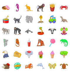 zoo icons set cartoon style vector image