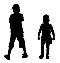silhouettes of two boys vector image