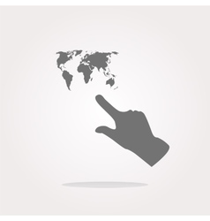 Icon with people hand and world map sign arrows vector