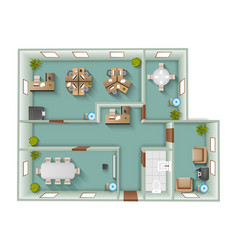 Office interior top view vector