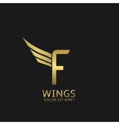 Wings f letter logo vector