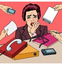 Pop Art Nervous Business Woman Biting Her Fingers vector image